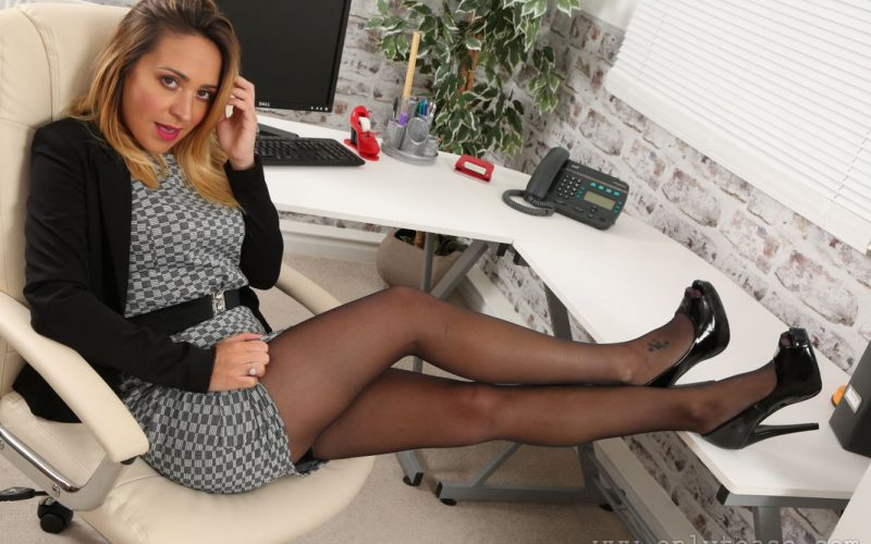 Naughty Secretary Samantha In A Minidress And Stockings