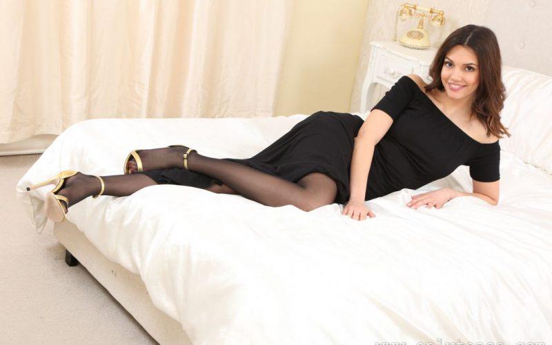 OnlyTease Abigail B In Heels And Sheer Black Pantyhose