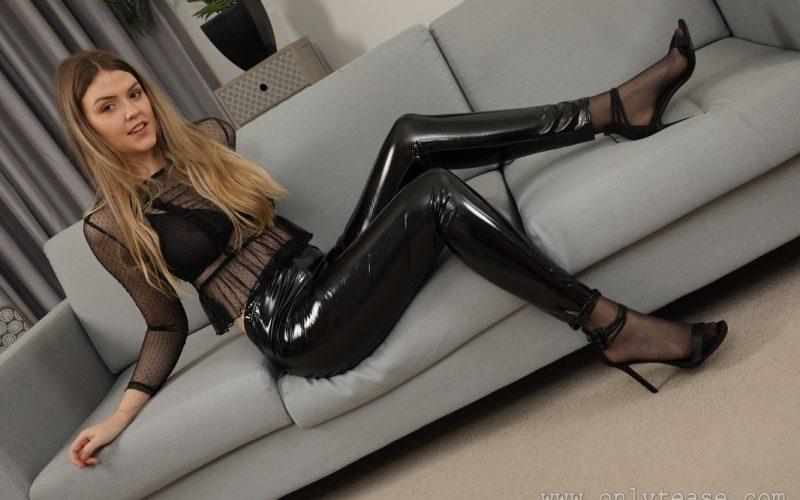 Rosie D Wearing Shiny Pants Over Sheer Black Stockings